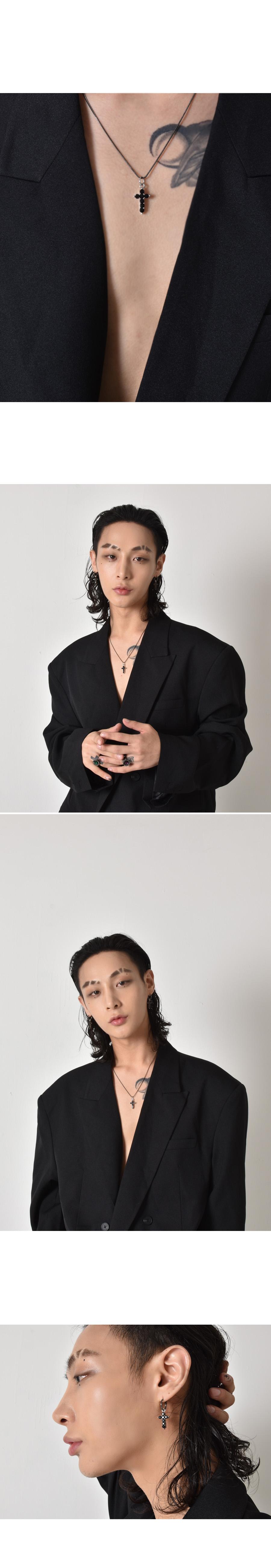 블랙 퍼플(BLACK PURPLE) 리틀 큐빅 십자가 링 귀걸이